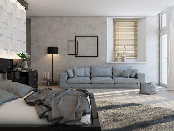 Graues Sofa Polstermöbel Tapeten creme Shaggy Teppich Wohnzimmer