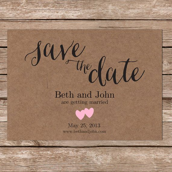 Rustic save the date cards \/ printable save the date \/ kraft save - save the date template