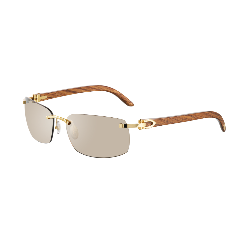 5ad748dd3 Cartier Rimless sunglasses with C decor - Golden finish, wood, brown lenses  - Fine Sunglasses for men - Cartier