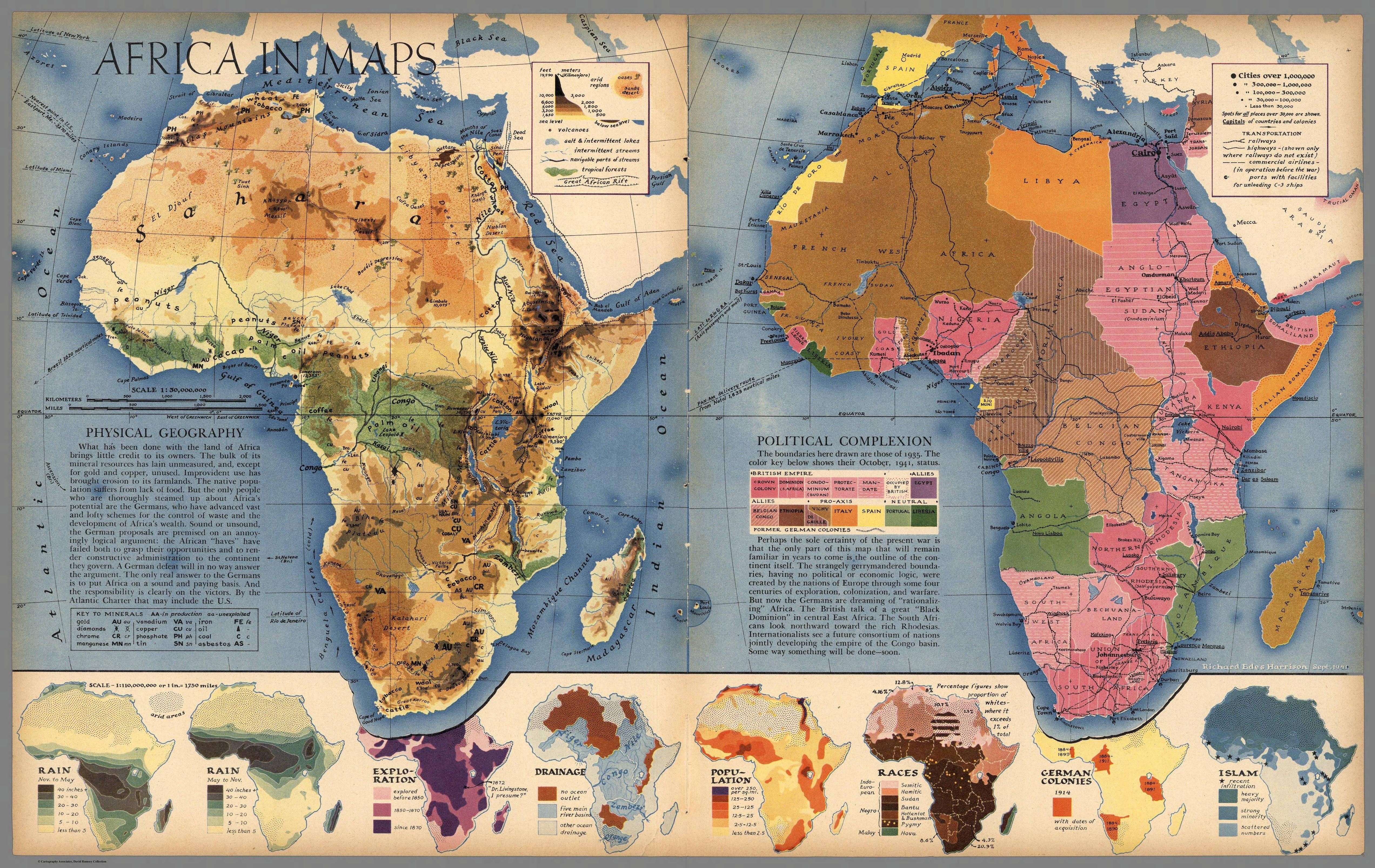 Africa in maps 1941 maps pinterest allies in world war 1941 print map africa topography wartime allies world war ii population resource original color print gumiabroncs Images