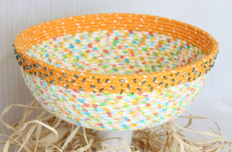 Basket, coiled fabric basket, spring colors, decorative, Easter ...