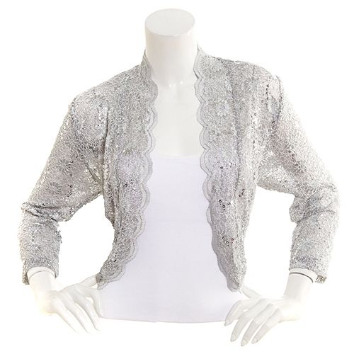 R&M Richards Scalloped Lace Cardigan - Silver | Scalloped lace ...