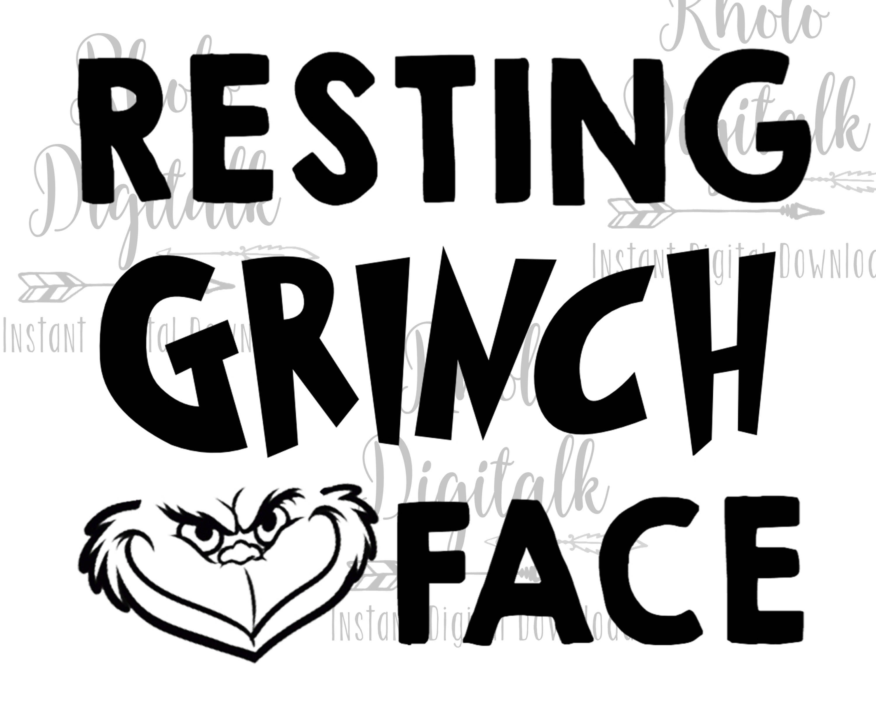 Resting Grinch face svg, Instant Digital Download by