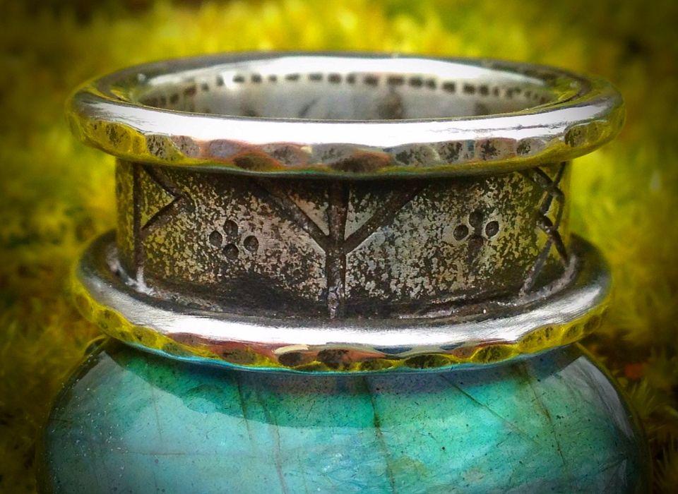 Viking Runic Wedding ring... Sterling Silver. Loved making