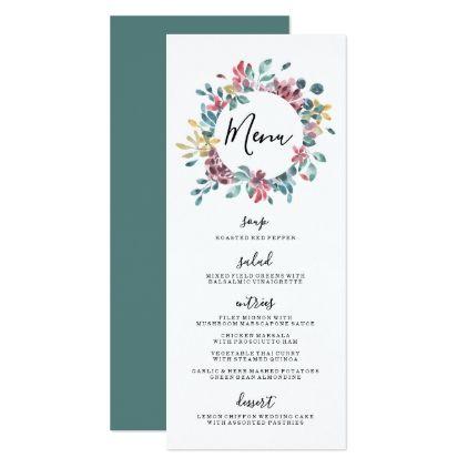 Elegant Blossoms  Floral Wreath Wedding Menu Card  Wedding Menu