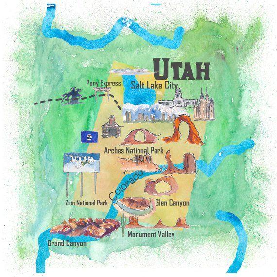 Utah In Usa Map.Usa Utah State Travel Poster Illustrated Art Map Fine Art Print