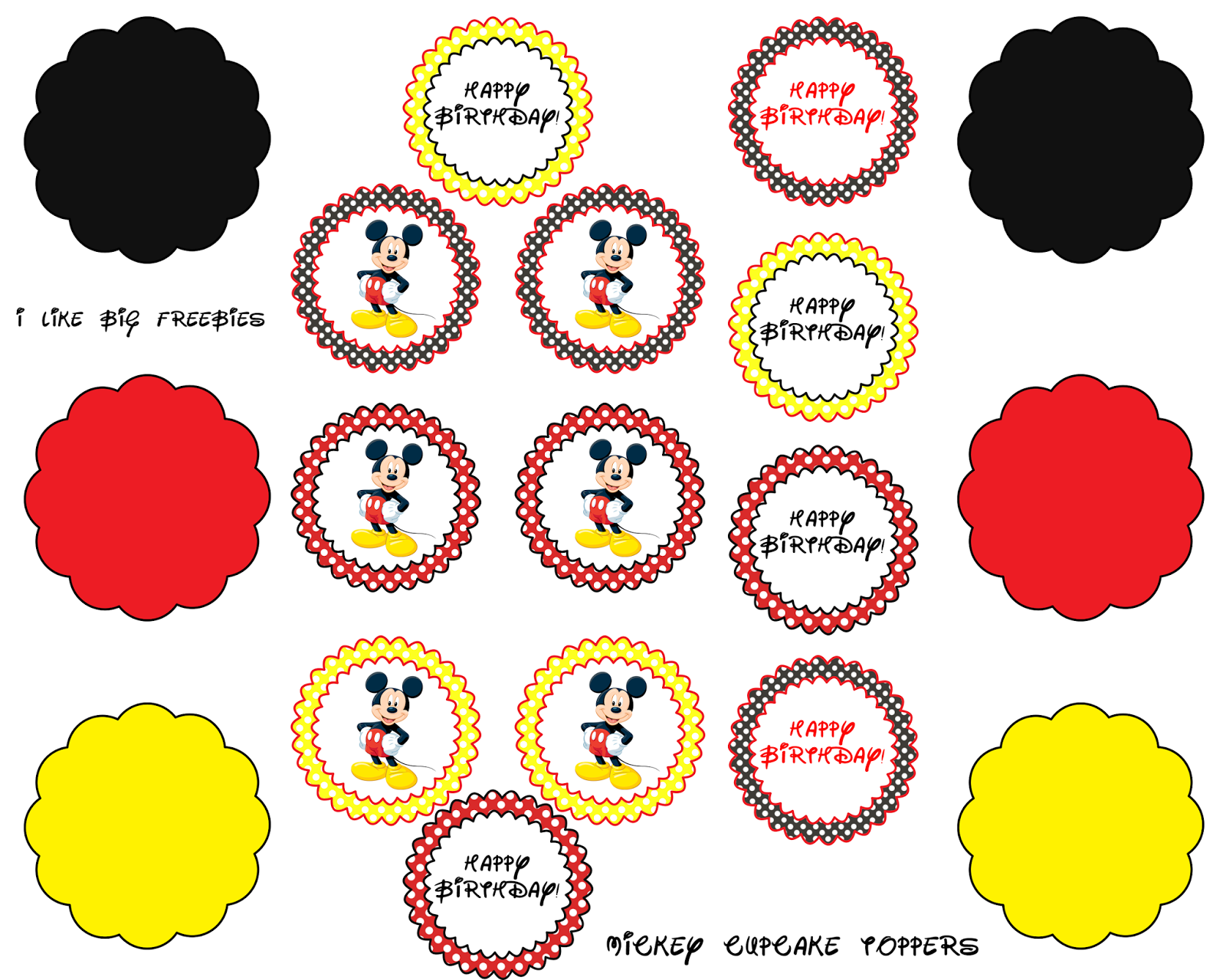 Mickey Mouse Cupcake Toppers Free Printable