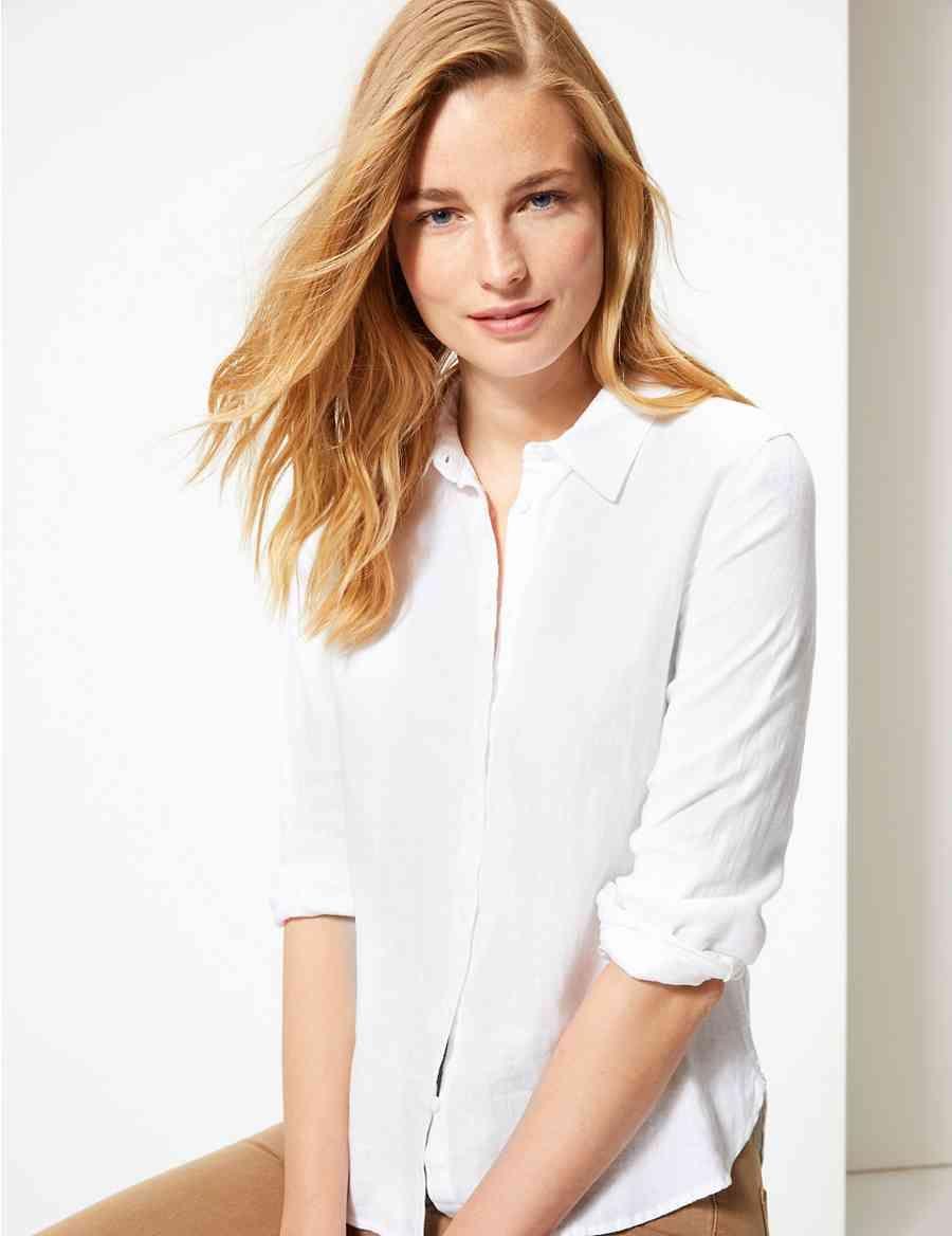 8b4bdf7163 Pure Linen Button Detailed Shirt   India   Long sleeve shirts ...
