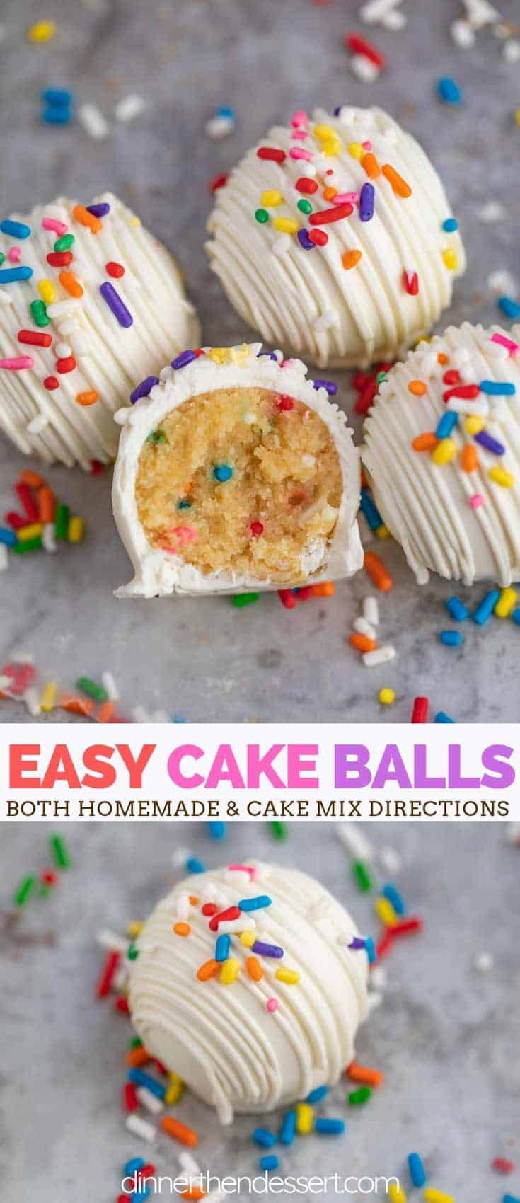 Cake Balls (Cake Truffles) are the PERFECT dessert, made with sweet yellow cake mixed with buttercream frosting and sprinkles then coated in melted white chocolate and topped with extra sprinkles! Balls (Cake Truffles) are the PERFECT dessert, made with sweet yellow cake mixed with buttercream frosting and sprinkles then coated in melted white chocolate and topped with extra sprinkles!