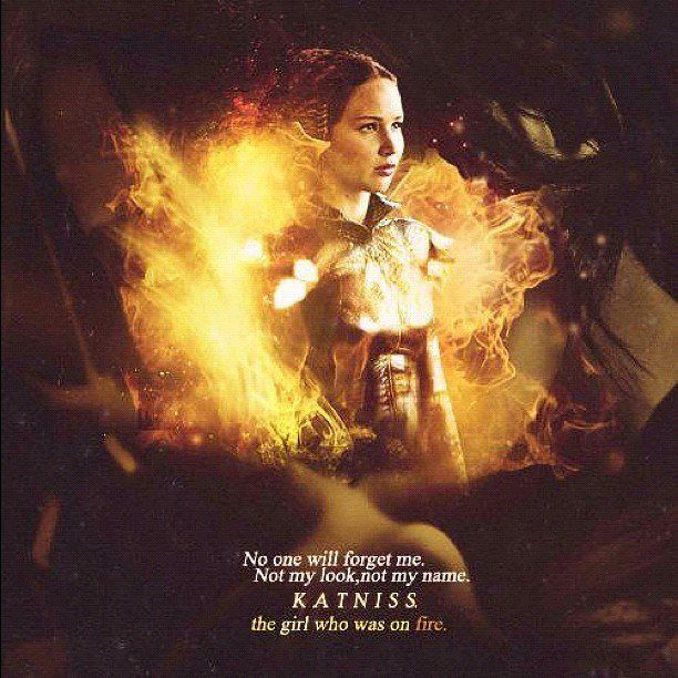 """""""No one will forget me. Not my look, not my name. Katniss. The girl who was on fire""""    IMAGE: http://instagr.am/p/LdYP9OzQkv/"""