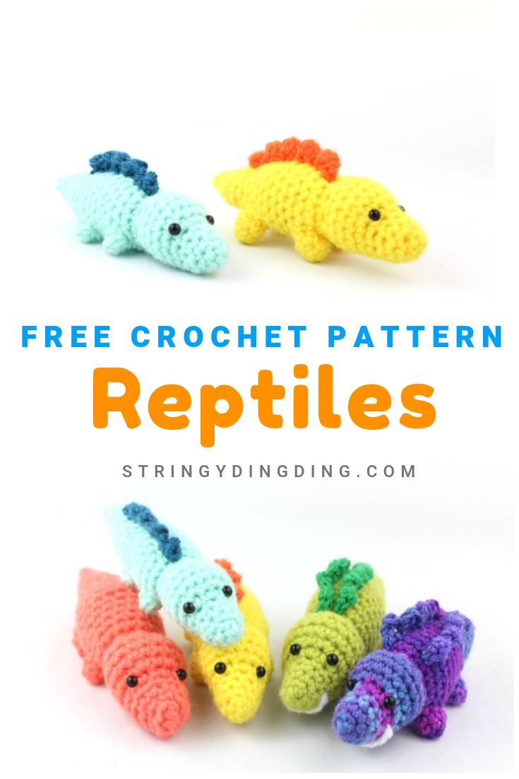 Free Crochet Pattern- Reptiles: A dinosaur, lizard, and alligator