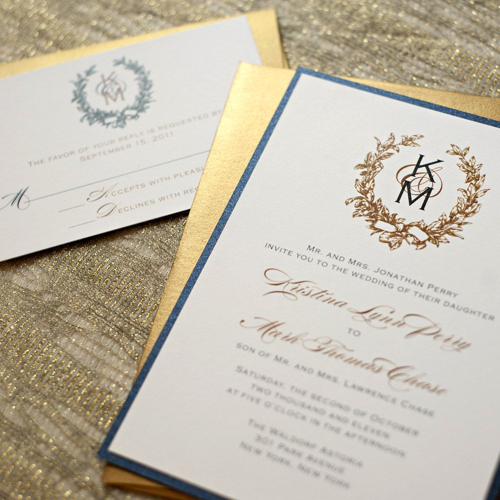 Navy blue and gold wedding invitations vintage wreath wedding