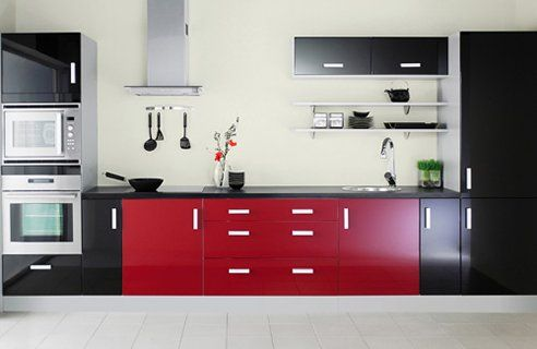 Black Red And Stainless Steel Kitchen Yes Please Kitchen Design Color Black And Red Kitchen Red Kitchen Decor
