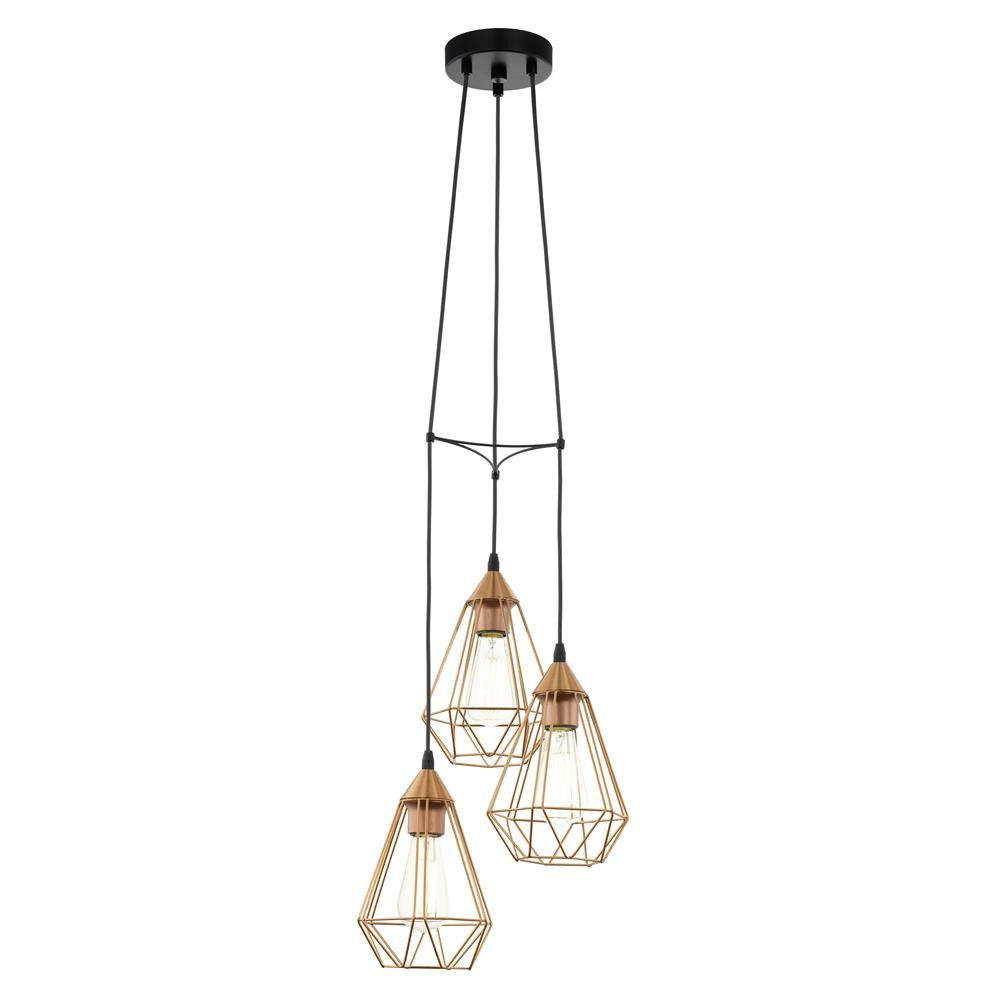 eglo 94196 tarbes vintage copper wire cage 3 lamp cluster