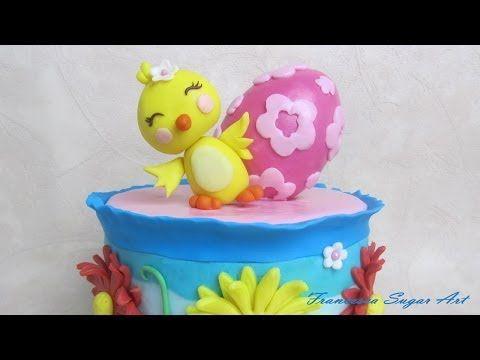Fondant Chick cake topper - pulcino in pasta di zucchero per torta di Pasqua - YouTube