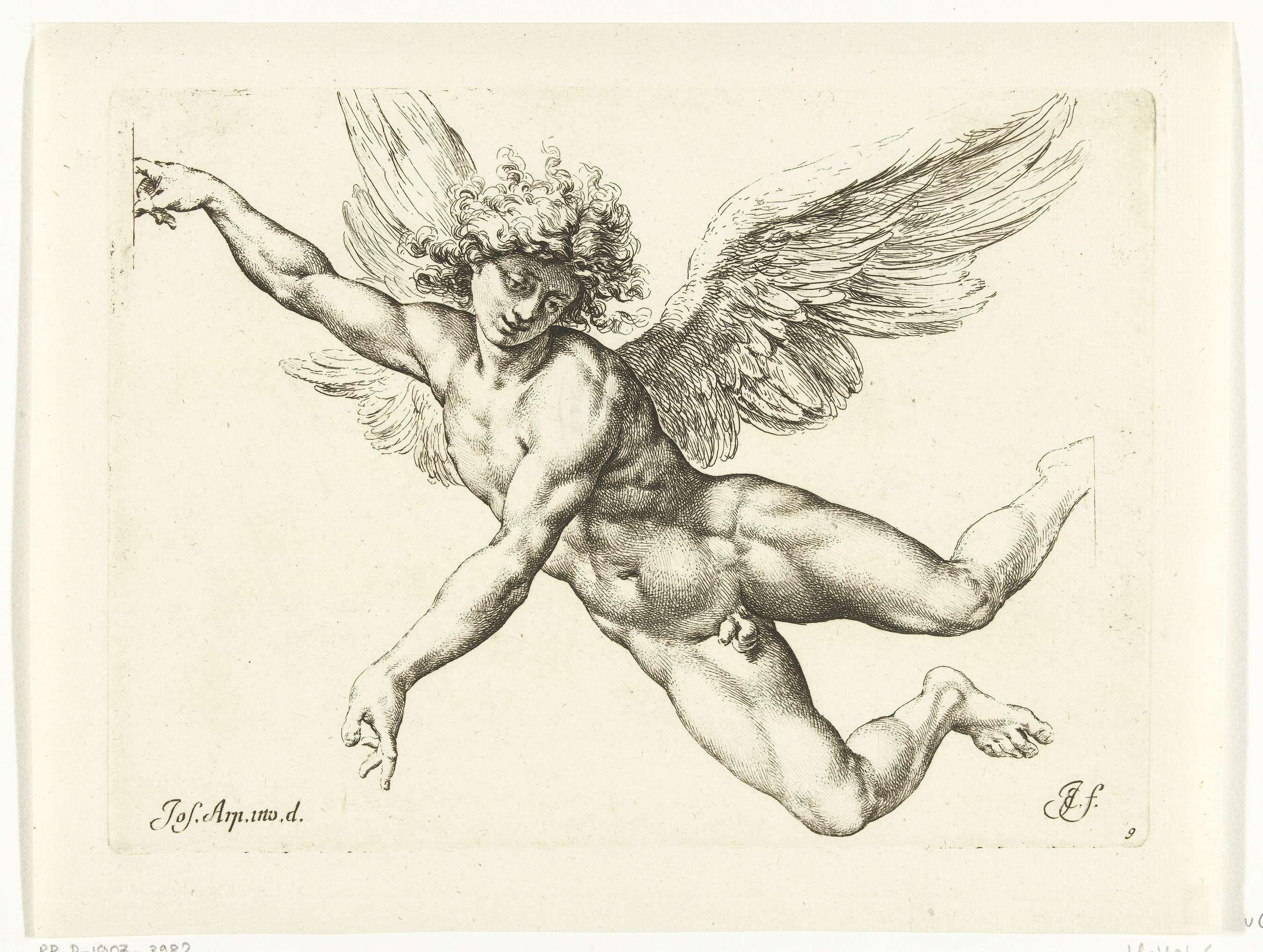 Jan de Bisschop | Study of a winged male nude, Jan de Bisschop, 1668 - 1671 | Studie voor een vliegende, naakte engel, misschien Sint Michael of Icarus.