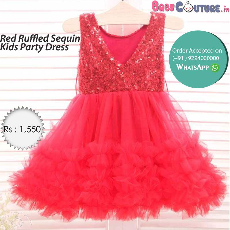 Red Ruffled Sequin Kids Party Dress | Kids party dresses