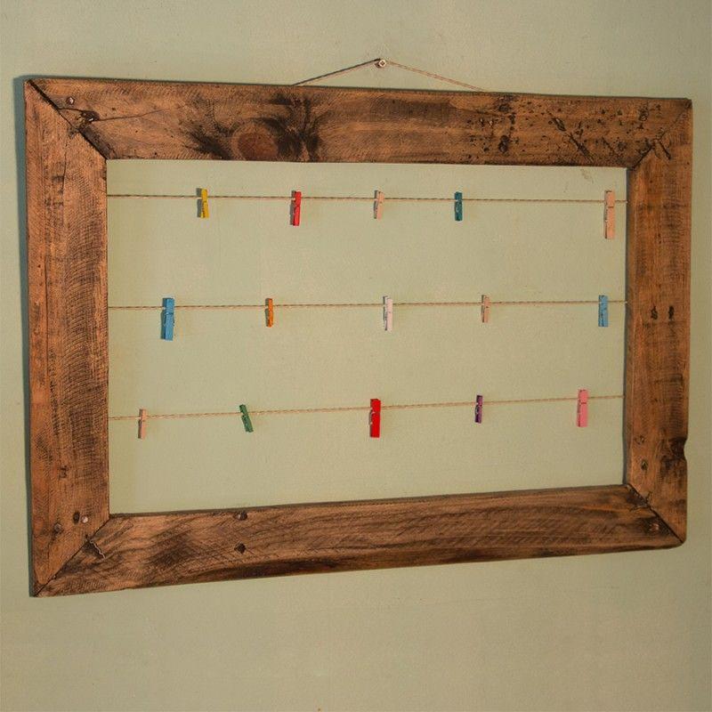 Marco madera reciclada palet con pinzas mediano | Marcos | Pinterest ...