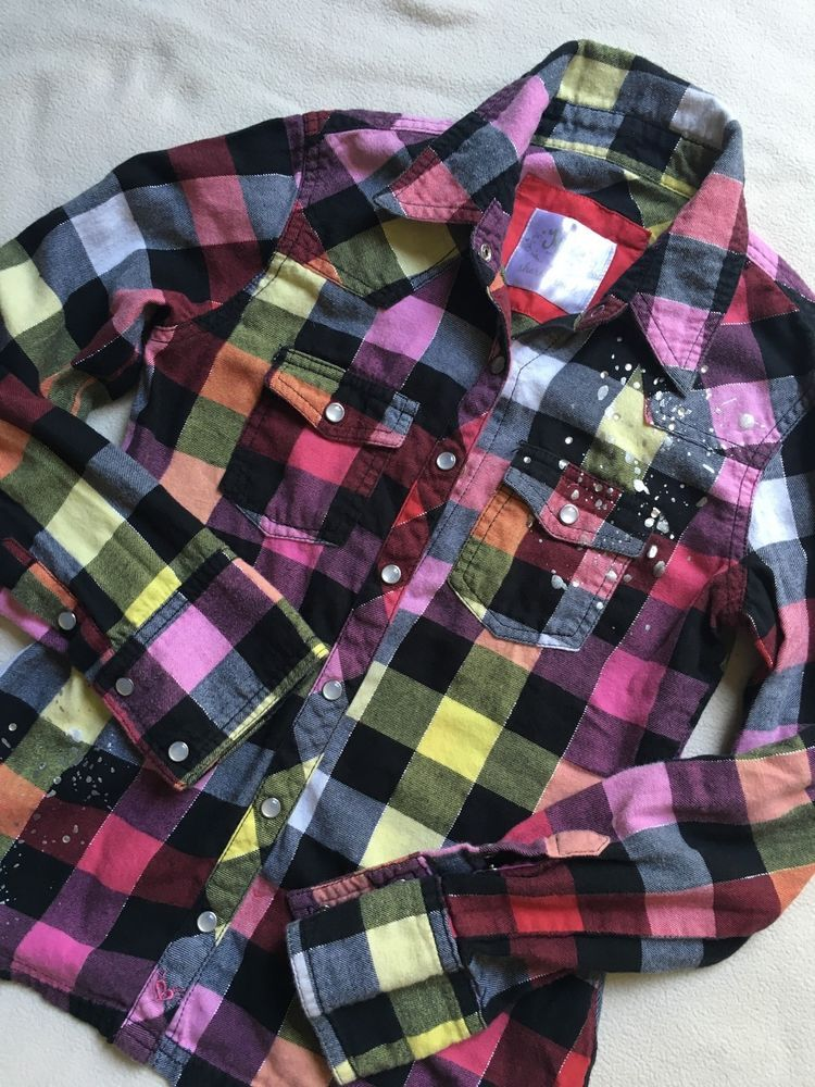 104b4644ad30 Justice Multi Colored Flannel Shirt Long Sleeve Girls Size 8 | eBay ...