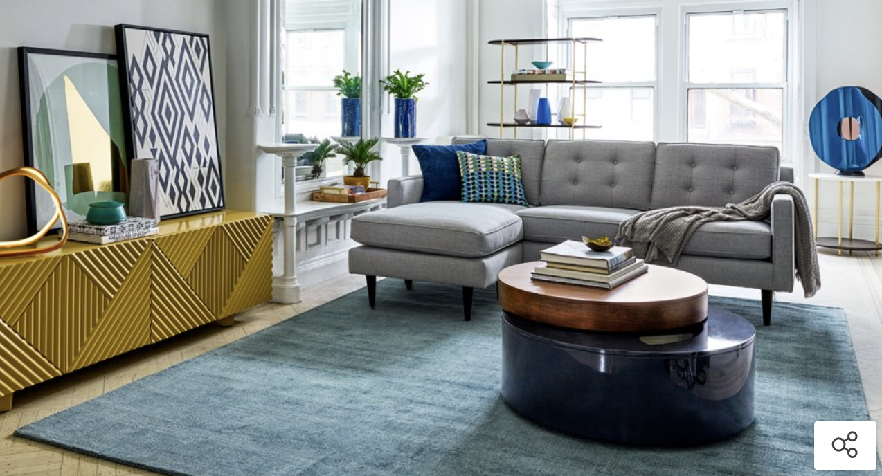 Grey Sofa With Chaise Teal Rug Deco Accent Furniture Home Design Living Room Living Room Remodel Trendy Living Rooms