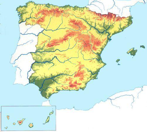 Mapa Climatico De España Mudo.Relieve Espana Mapa Fisico De Espana Relieve Espana Y