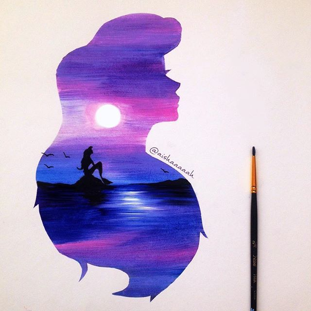 absolutely magical silhouette paintings of #Disney moments