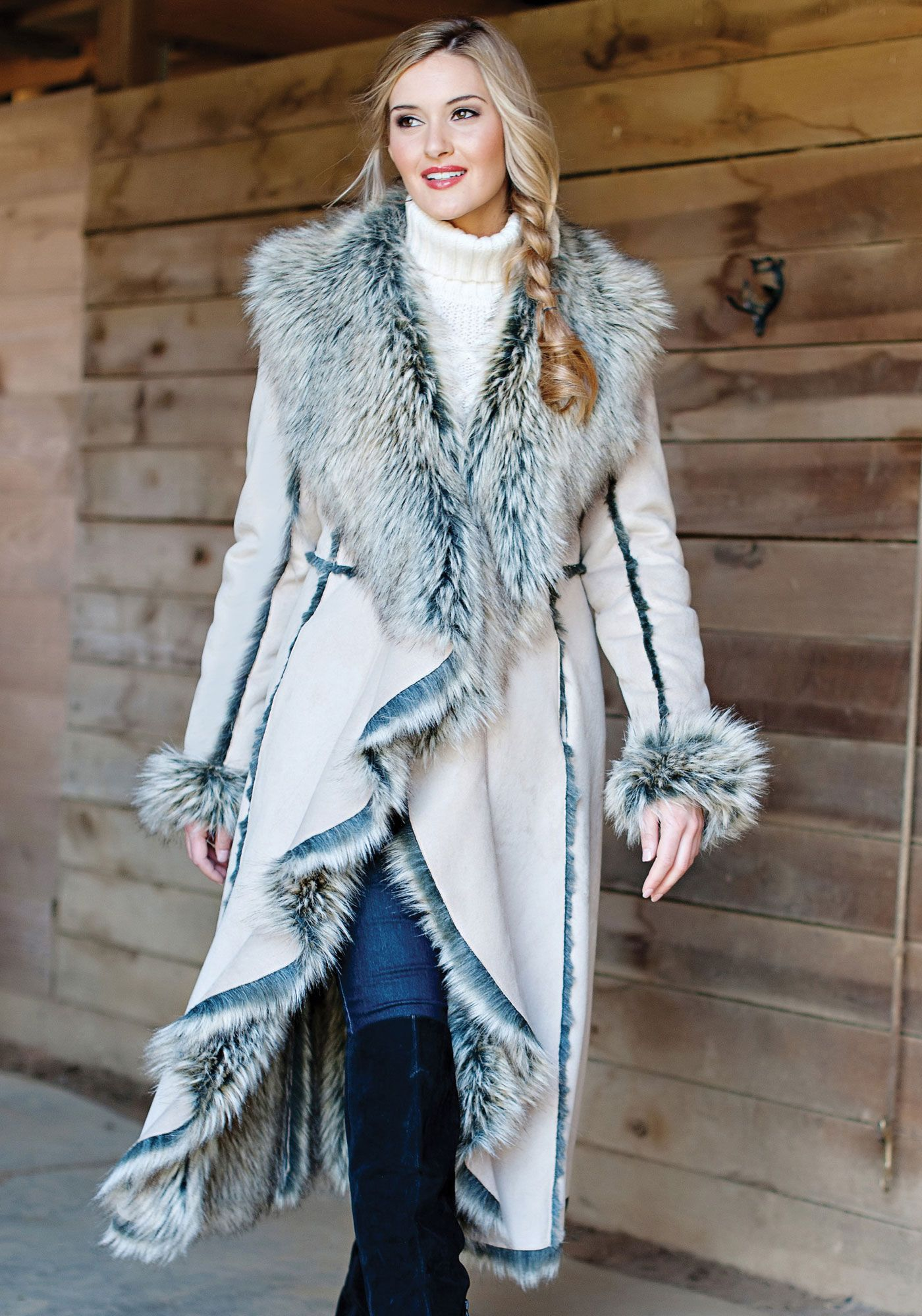 Full Length Coat with Faux Fur trim fZrej