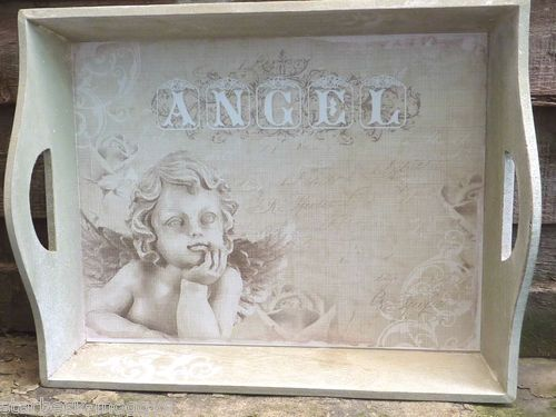 SHABBY WOOD ANGEL OR CHERUB CHIC TRAY VINTAGE LOOK DRESSING TABLE FOR LOTIONS | eBay