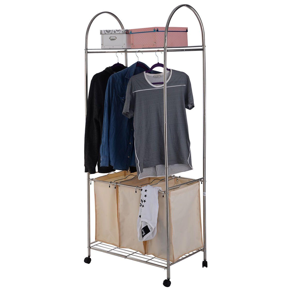 3 bag rolling laundry cart sorter hamper washing clothes bin storage basket rack