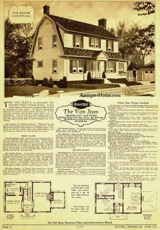 Van Jean Model Dutch Colonial Sears Honor Bilt Home Catalog 1928