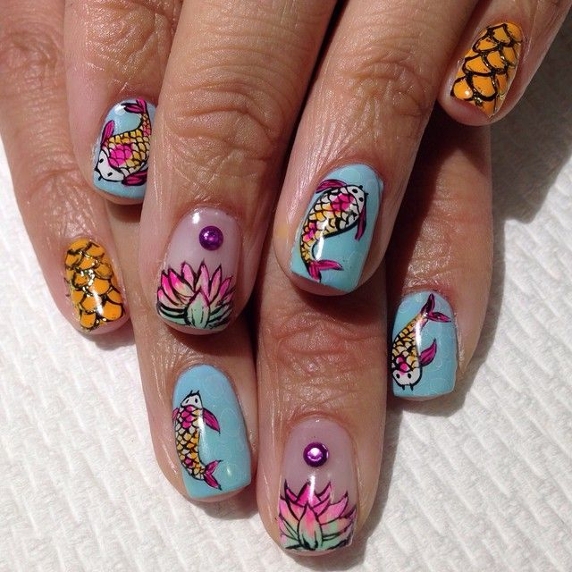 Koi x Lotus Flowers #raqstarnails #koifish #lotusflower | Nails ...