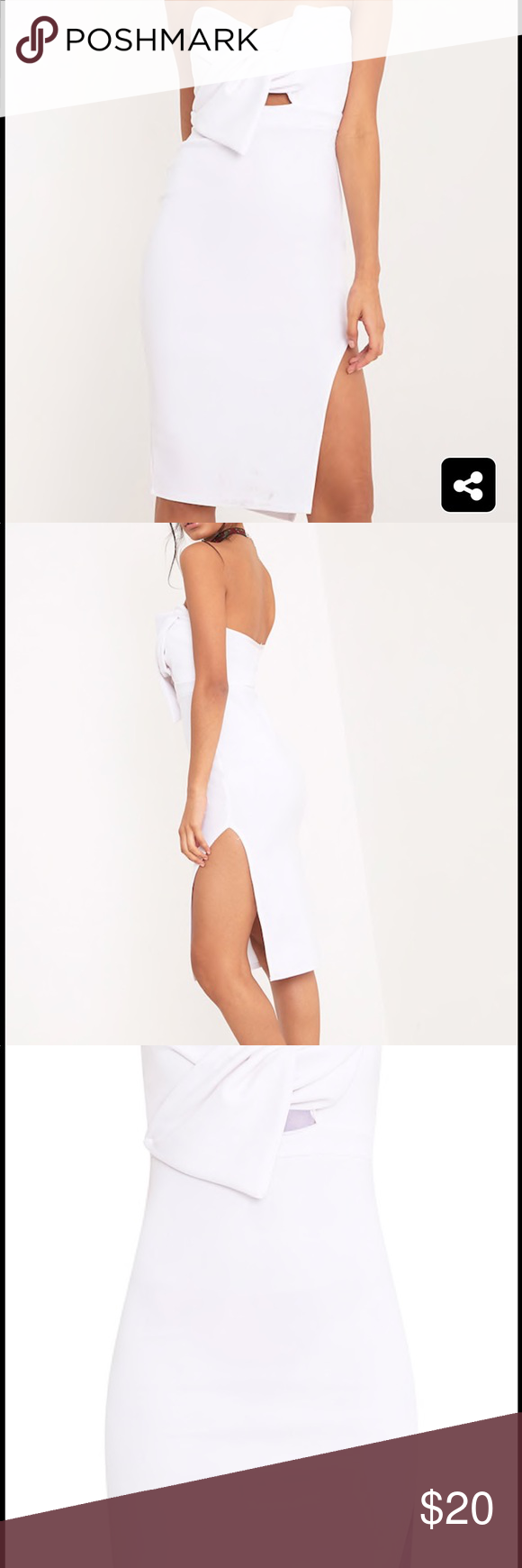 White bow midi dress Cute white bow dress. Brand new with tag. Francesca's Collections Dresses Midi