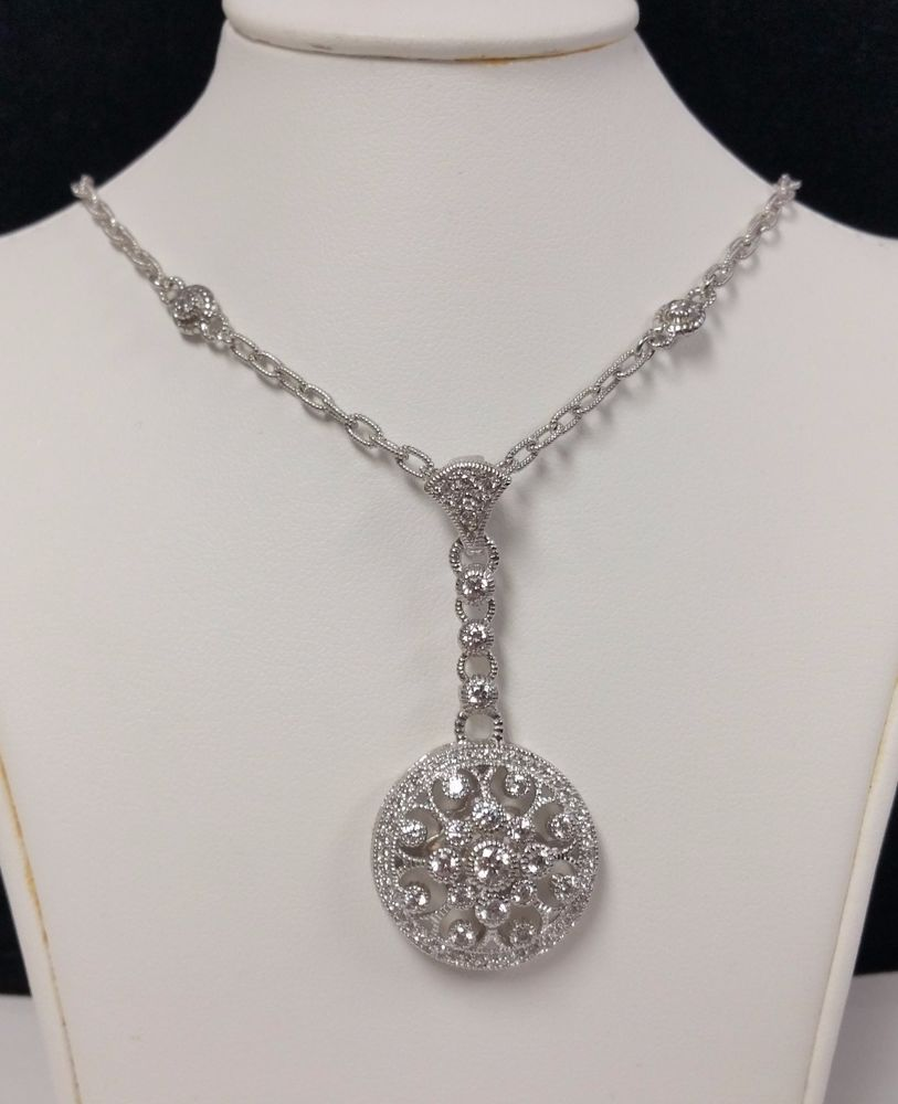 "Judith Ripka Sterling Silver Diamonique Filigree Design Necklace 18"" #JudithRipka #sterling #silver #sterlingsilver #pendant #necklace #diamond #jewelry"