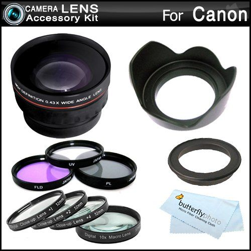 Amazon.com : Essential Lens Kit For CANON VIXIA HF M52, HF M50, HF M500, HF M41, HF M40, HF M400 HD Camcorder Includes HD .43x Wide Angle Lens w/ Macro + Close Up Lens Kit Includes +1 +2 +4 +10 + 3pc High Res Filter Kit (UV-CPL-FLD) + Lens Hood + MicroFiber Cleaning : Camera Lens Filter Sets : Camera & Photo