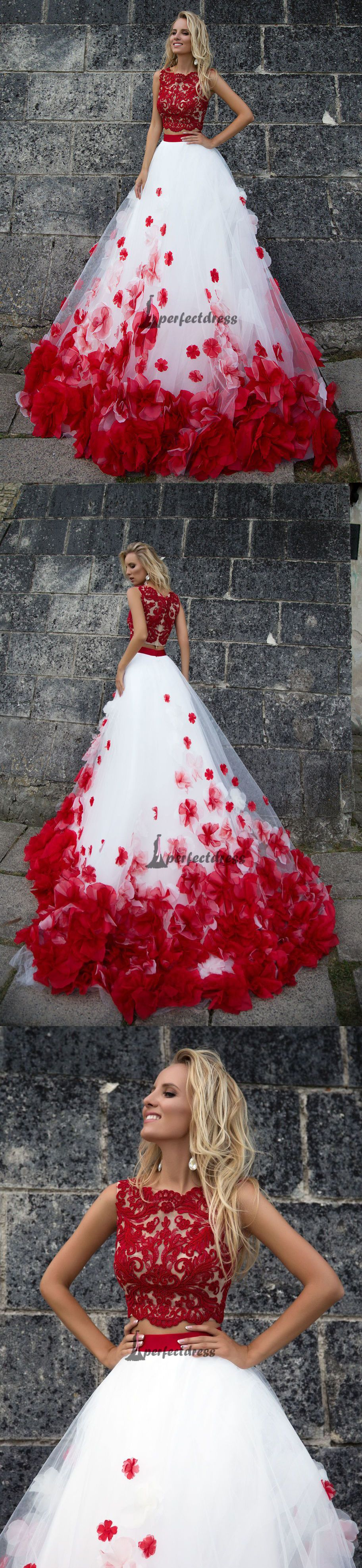 Two pieces wedding dresses white and red bridal gownpd