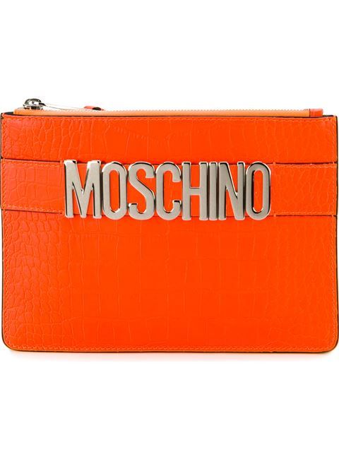 MOSCHINO Logo Plaque Clutch. #moschino #bags #shoulder bags #clutch #leather #hand bags