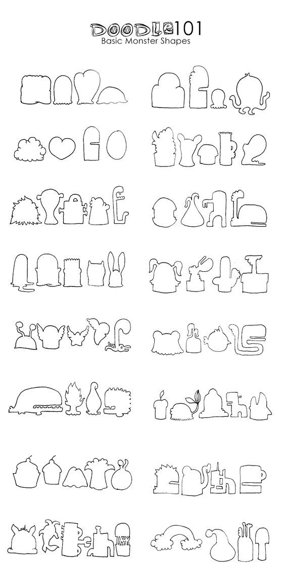 Doodle monster body templates Illustration Pinterest Body