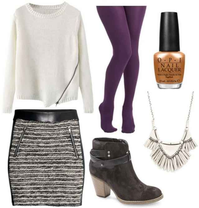 Black ankle boots, grey skirt, white sweater, purple tights, orange nail polish, silver necklace