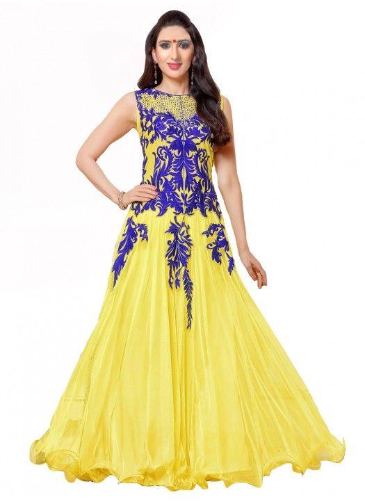 9c510f8c89 Karisham Kapoor Yellow Designer Gown Style Anarkali Suit - StyloWay ...