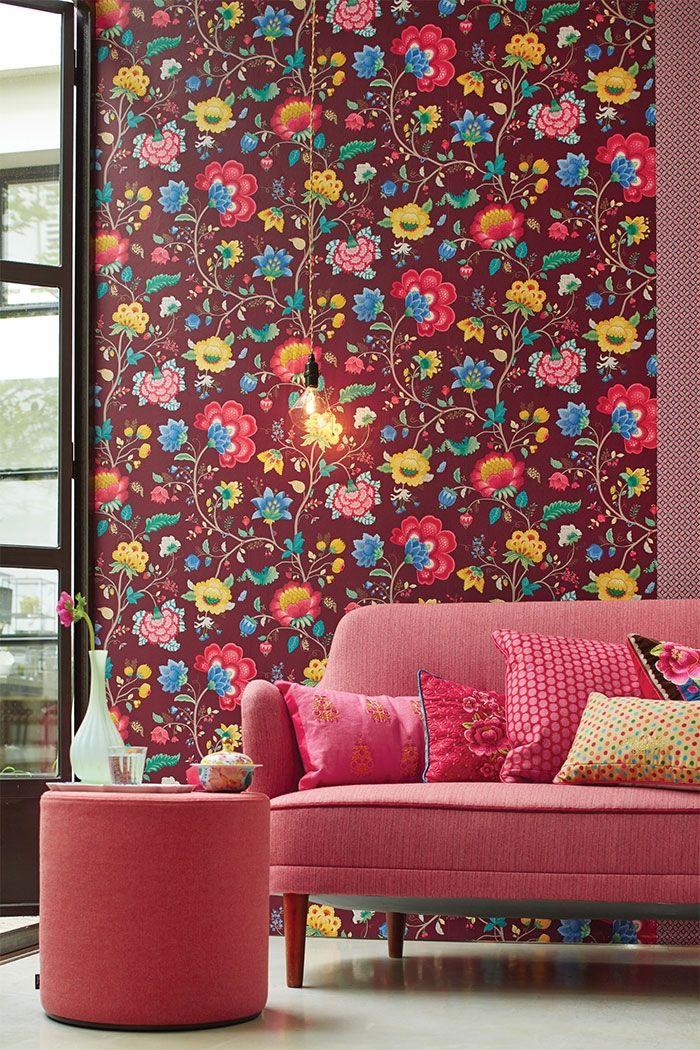 PiP Floral Fantasy | Bordeaux Wallpaper | PiP Studio ©