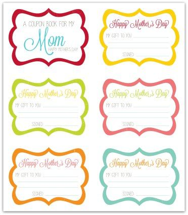Free MotherS Day Coupon Book Printable  Activity Days