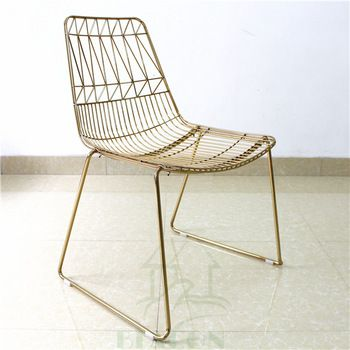 Clic Italy Design Metal Wire Mesh Dining Chair Gold Chairs Simple Product On Alibaba