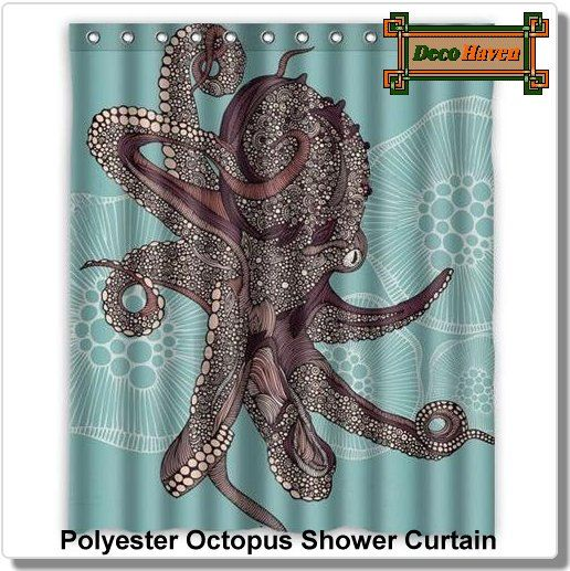 Polyester Octopus Shower Curtain Octopus Shower Curtains