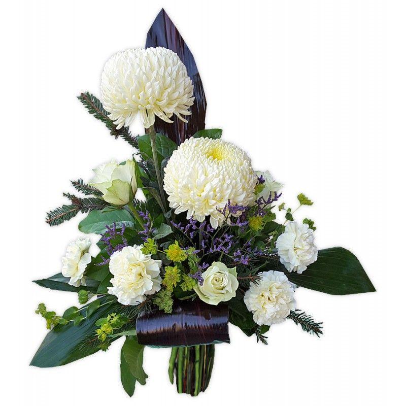 Bukiet Z Kremowej Chryzantemy Rozy I Gozdzika Z Fioletowym Limonium I Innymi Dodatkami Kwiaciarnia Rikka Floral Wreath Floral Wreaths
