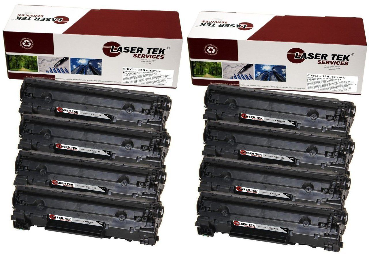 8 pack canon 128 remanufactured toner cartridges toner