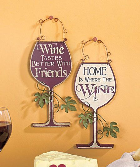 CREAM & BURGUNDY SET OF 2 WINE PLAQUES WALL ART SIGN KITCHEN BAR ...