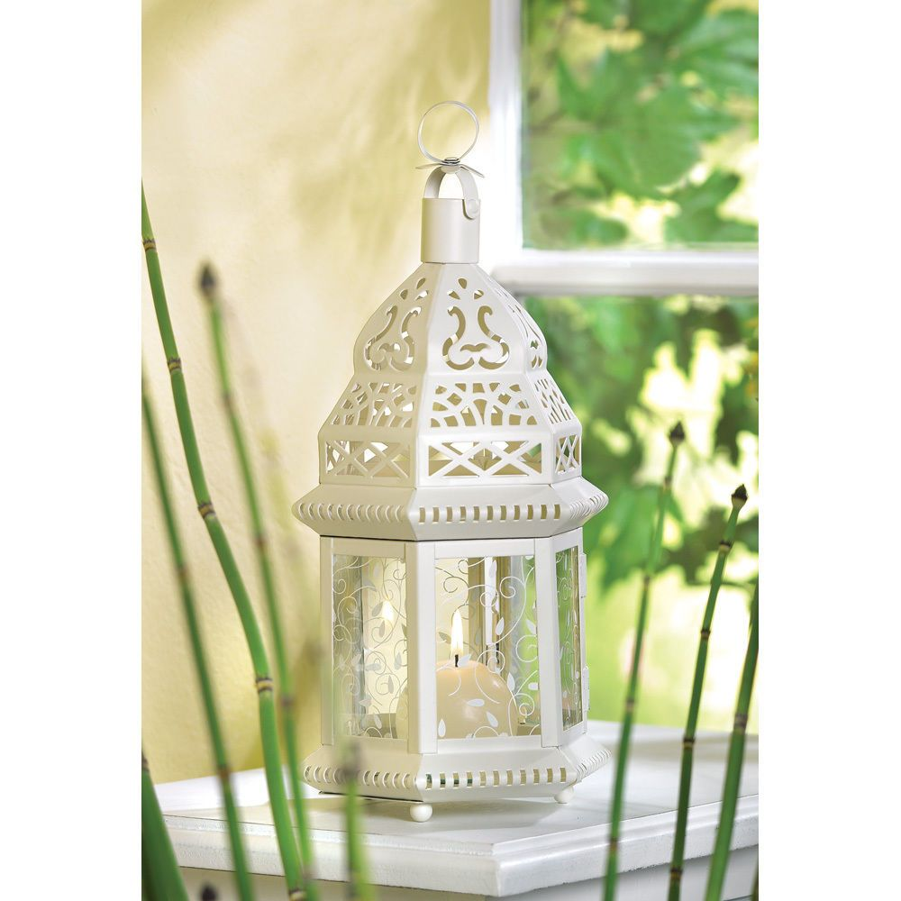 Party decoration ideas moroccan metal lantern - Details About 2 White Moroccan Style Candle Holder Lantern Wedding Centerpiece Decor 38465