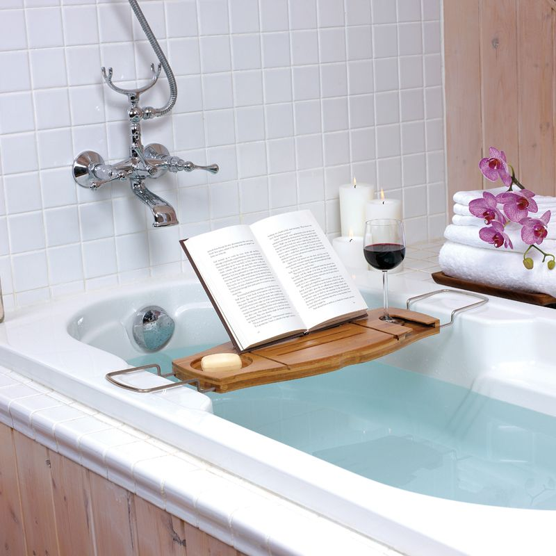 Expandable bathtub caddy with built in wine glass holder and fold ...
