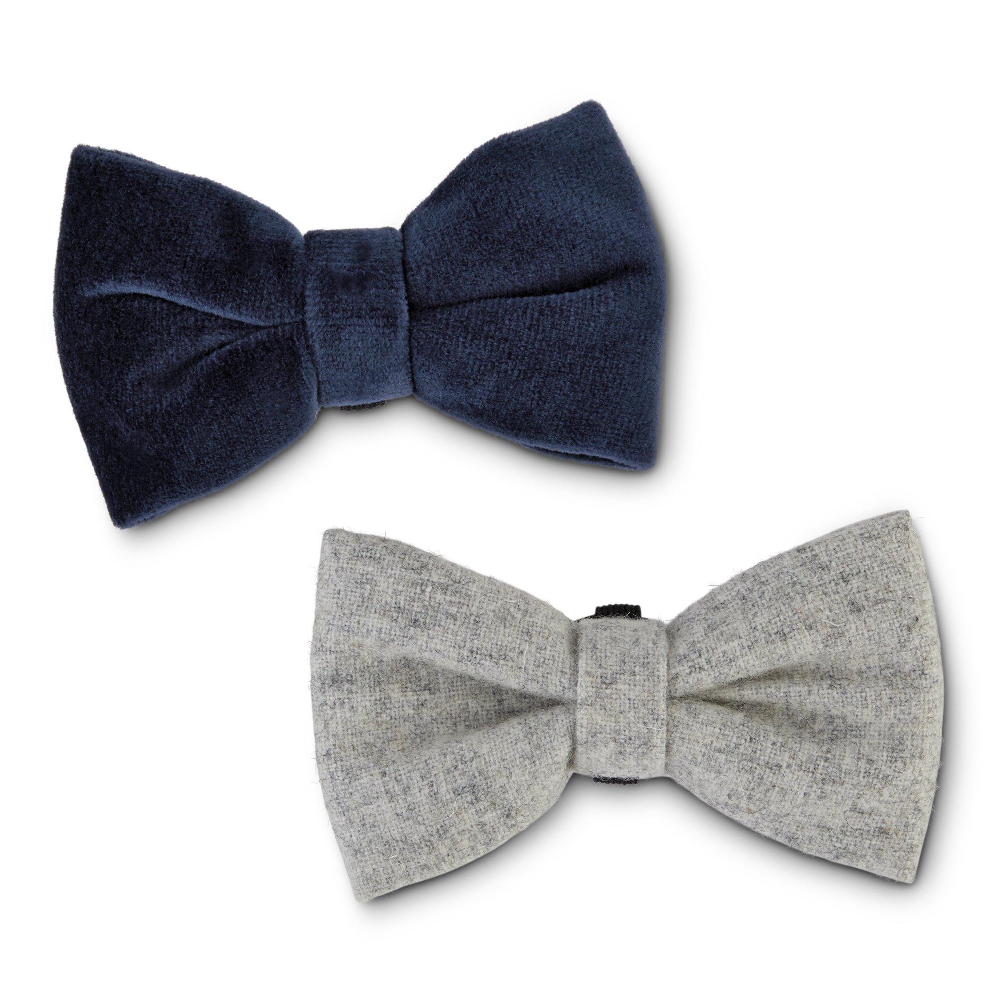 Bond Co Stone Gray And Blue Velvet Dog Bow Tie Set Pack Of 2 Dog Bows Tie Set Blue Velvet