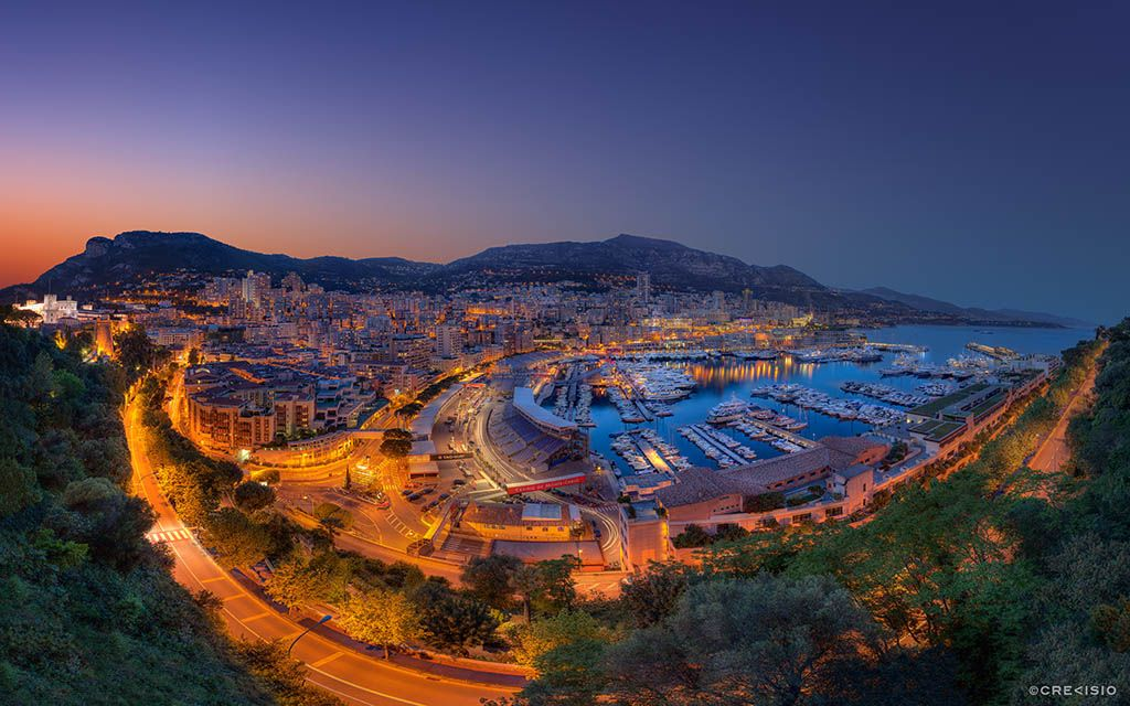 """""""Formula 1 Grand Prix 2013 Monte-Carlo Fever"""" -- #wallpaper by """"Crevisio"""" from http://interfacelift.com -- Evening twilight sunset of the Formula 1 Grand Prix fever at the Port Hercule of the Principality of Monaco."""